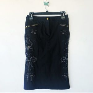 Rare Roberto Cavalli black demon skirt sz medium